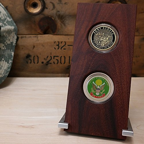 Military-Challenge-Coin-Inkline-Display-Case-Holds-Two-Coins-Natural-Coyote-Wood-For-45mm-175-Coins
