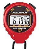 ACCUSPLIT Pro Survivor - A601X Stopwatch, Cumulative Split, Clock, Extra Large Display (Red)