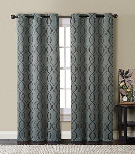 HLC.ME Bryant Energy-Saving Blackout Window Curtain Grommet Panels - Pair - 84