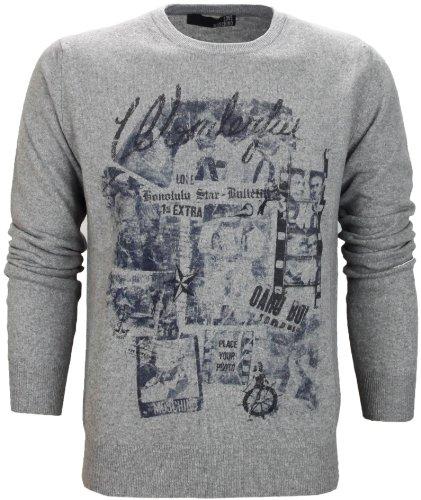 Moschino Men's Printed Grey Wool Jumper (Medium)