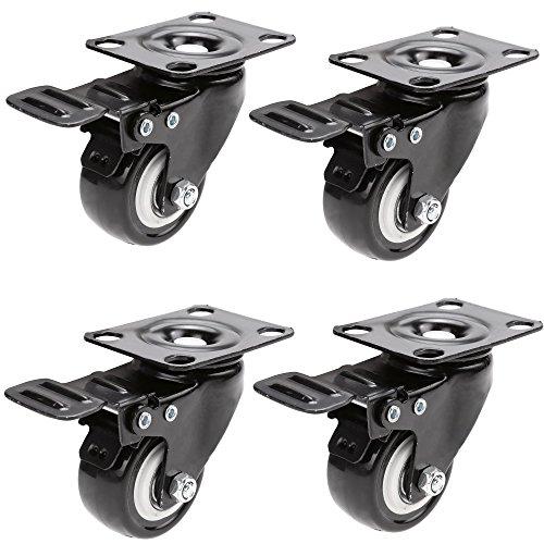 Homdox-4-x-250-Lenkrollen-Schwenkrollen-mit-Bremse-Tragkraft-von-400kg-aus-Gummi