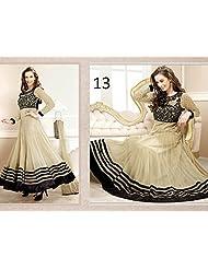 AIKA Net Anarkali Cream & Black Unstitch Dress Material
