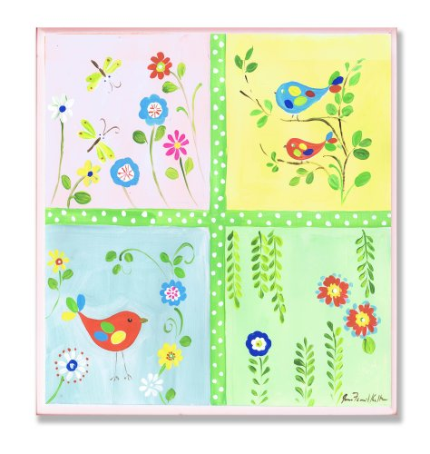 The Kids Room by Stupell Birds, Dragonflies and Vines Square Wall Plaque