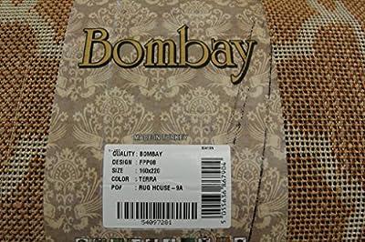 Warm Soft Terracotta Orange Geometric Trellis Living Room Carpet Area Rug - Bombay 5 Sizes Available