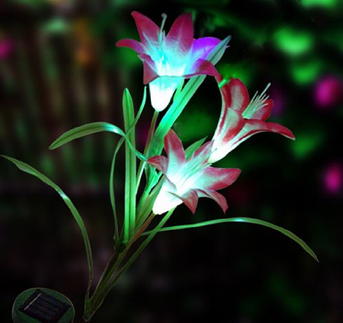 URgreat Solar Powered LED Color Changing Lily Flower Garden Light