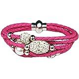 Mevina Damen Armband Shamballa mit Glitzer Kugeln und Perlen viele Farben