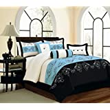 Fancy Collection 7-pc Embroidery Floral Comforter Set Bed in a Bag Blue Black Off White New (Queen)