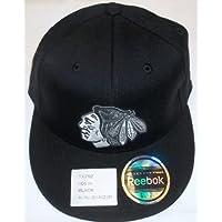 Chicago Blackhawks Flat Bill Fitted Flexfit Hat by Reebok Size 6 7/8-7 1/4 (S/M)