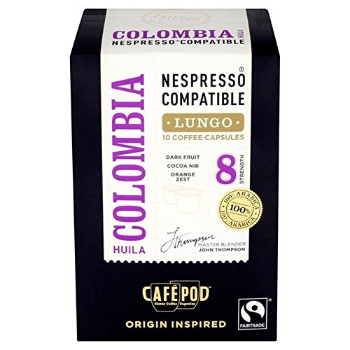 Choose CafePod Colombian Nespresso Compatible Coffee Capsules 10 per pack - Pack of 2 by CafePod