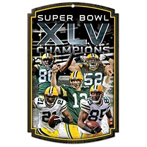 Green Bay Packers Super Bowl XLV Champions Team Wood Sign by Wincraft