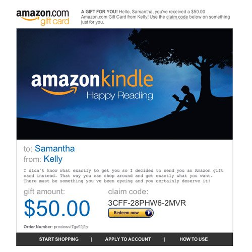 Amazon Gift Card  Email  Amazon Kindle  Amazon  bayexar
