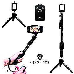 ApeCases Branded Extendable handheld Yunteng 1288 Pro 2-In-1 Adjustable Self Portrait Yunteng Selfie Stick Monopod + YunTeng YT-228 Mini Tripod for Camera and iPhone, Smartphones with Bluetooth Remote Shutter Black