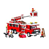 Top Race® Fire Truck Vehicle Building Set (576 Pieces) With Fire Chief Motorcycle And Accessories,