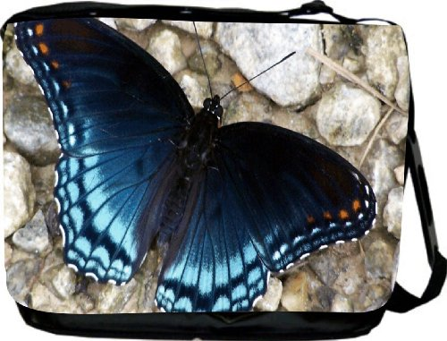 Blue Shaded Butterfly Messenger Bag - Laptop Bag ***with matching coin purse wallet*** -School Bag - Reporter Bag - Unisex - Ideal Gift for all occassions!