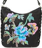 Zimbelmann Damen Umhängetasche Damentasche aus echtem Leder - Nappaleder - handbemalt - Victoria