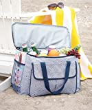 Oversized Cooler Tote - Geometric Squares - Insulated Beverage Bag