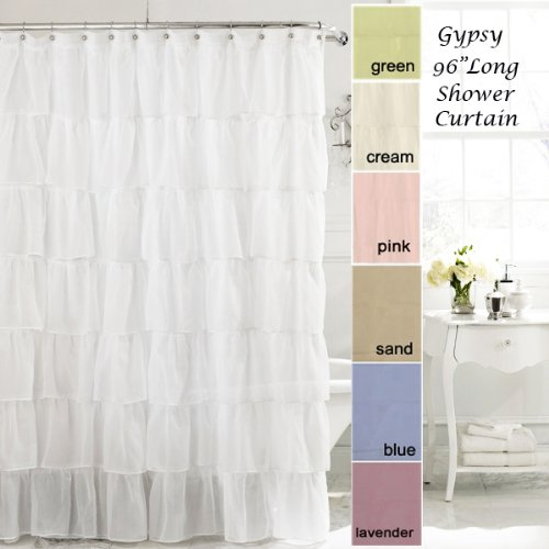 Gypsy Shabby Chic Bouffant Crushed Sheer Shower Curtain Extra Long from Lorraine Home Fashions