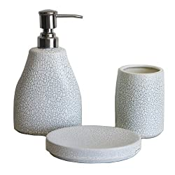 Mom Italy Raindrop Stoneware 3 Piece Bath Set - White and Blue