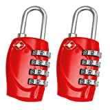2 x TRIXES 4-Dial TSA Combination Padlock for Luggage Suitcases and Travel Red