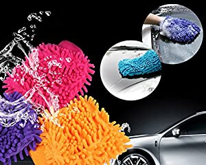 3 Pack Chenille Microfiber Premium Scratch-Free Car Wash Mitt - Double Sided,Colors May Vary