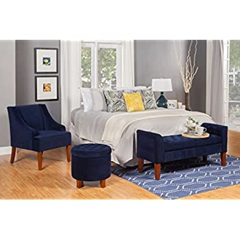 HomePop K6499-B215 Swoop Arm Accent Chair Living Room Furniture, Medium, Navy