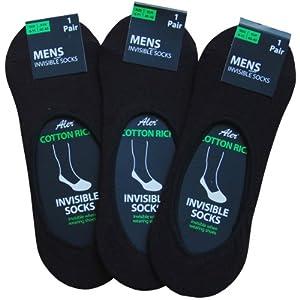 Mens Black Super Soft Cotton Rich Summer Invisible Trainer Socks (3 Pair Multi Pack)