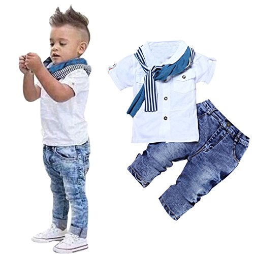 Efaster® 1Set Kids Baby Boys Short Sleeve T-Shirt Tops+Scarf+Trousers Clothes Outfits (2T)