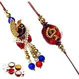 Auspicious Bhaiya Bhabhi Set Of Sandalwood Peacock Design Lumba & Om Sandalwood Rakhi Rakhi Raksha Bandhan Gift...