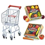 Shopping Cart With Play Time Produce Vegetables And Fruits Pretend Play Food Toy A Complete Gift Set By Melissa...