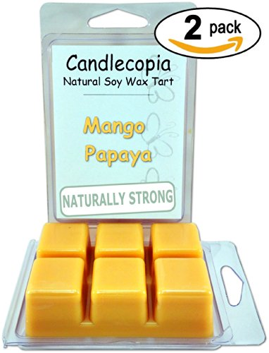 Candlecopia Mango Papaya 6.4 Oz Scented Wax Melts - You Will Fall In Love With This Fruity Blend Of Ripened Mango And Juicy Papaya! - 2-Pack Of Naturally Strong Scented Soy Wax Cubes Throw 50+ Hours Of Fragrance When Melted In Scentsy®, Yankee Candle® Or