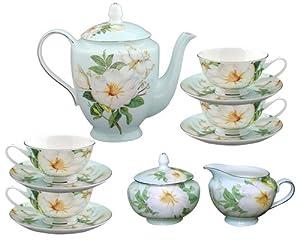 Gracie Bone China 11-Piece Tea Set, Blue White Magnolia by Gracie Bone China Coastline Imports