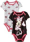 Disney Baby Baby-Girls Newborn Minnie Mouse 2 Pack Bodysuit, Black, 0-3 Months
