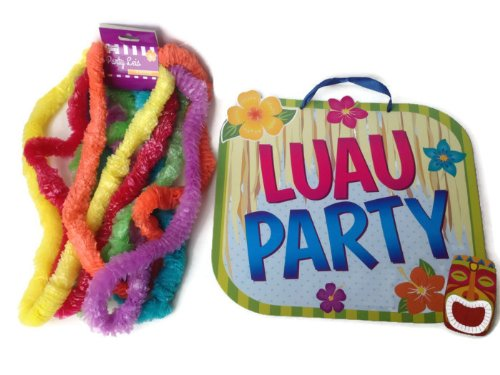 Luau Party Set - Two Piece Bundle Includes 1 Pack X 6Ct Party Leis And One Large Hanging Luau Party Sign