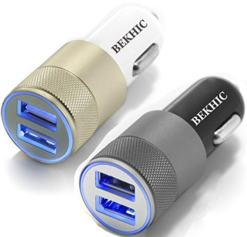 Bekhic 12V-24V 2 Port 3.1 Dual USB Car Charger + Smart Iq Technology for Apple iPhone 4 5 6 6s Plus iPad & &roid Samsung Galaxy S6 Edge Note 5 4 3 2 – 2 Piece
