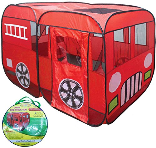 Large-Red-Fire-Engine-Truck-Pop-Up-Play-Tent-with-Side-Door-Entrance-for-BoysGirls-IndoorOutdoor