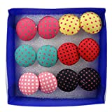Cute 6 Pairs Vintage Colorful Cloth Button Studs Earrings Plastic Pin Ear Jewelry