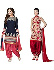 Marmic Fab Women's Cotton Printed Unstitched Regular Wear Salwar Suit Dress Material (MR_Dress_685_Blue&Rose_freesize)