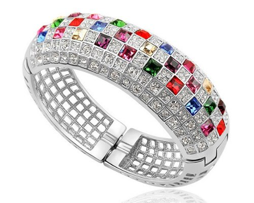Ninabox ® The Queen Collecition [TQC] -- The Woman. Design by Nina Sun. White Gold Plated Alloy Bangle Bracelet with Square Shaped Multicolored Swarovski Elements Crystal. Bracelet Diameter : 5.7 cm. BAG2653WM