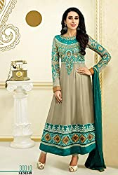 New Firozi grey Georgette Kali salwar suit