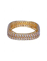 Alluring Handmade Pair Of Bangle Made In Metal Studded With AAA Quality A.D
