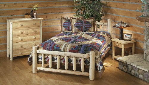 Cedar Log Twin Bed
