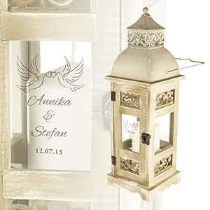romantische hochzeitslaterne mit gravur im antik look aus holz und metall. Black Bedroom Furniture Sets. Home Design Ideas