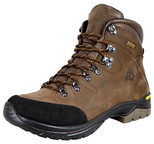 GUGGEN MOUNTAIN Gli uomini scarpe da trekking scarpe da trekking alpinismo Stivali scarponi da montagna impermeabili con suola Vibram HPM50, Colore Marrone, EU 44