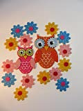 FELT STICKERS OWLS AND FLOWERS