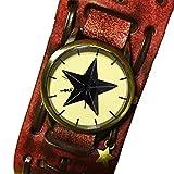 DUSTSTROKE 牛革 本革 レザー 星 ワイド 太 ベルト 腕時計 ( 2 カラー ) リストバンド レディース メンズ ユニセックス 革 (レッドブラウン)