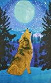 Sunshine Joy® 3D Glow in the Dark Full Moon Wolf Tapestry Wall Art Amazing 3-D Effects – Huge…
