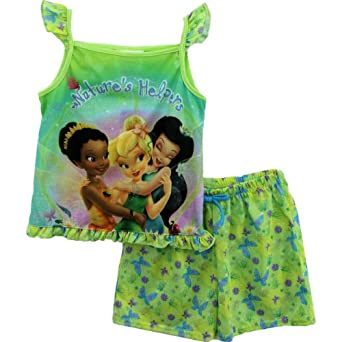 Disney Fairies Tinkerbell Natures Helpers Tank Top & Shorts Pajamas Set Size 7/8