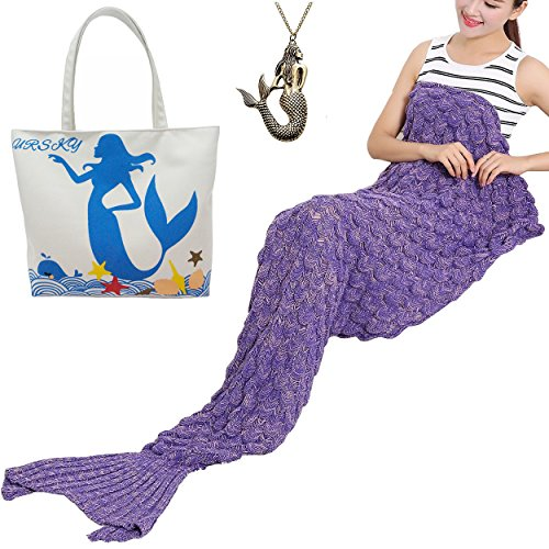 URSKY Handmade Crochet Knitted Snuggle Mermaid Tail Blanket For Adult, Children, Teens, All Seasons Sofa Living Room Sleeping Bag Blanket (71