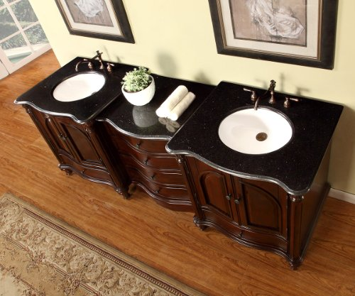 "83"" Double Sink Bathroom Vanity Modular 2 Piece Cabinet Furniture with Black Galaxy Granite Top 266BG"