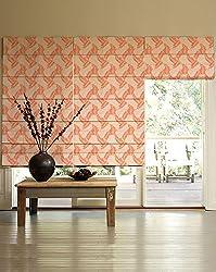 PRESTO BAZAAR 1 Piece Polyester & Cotton Floral Blind - Orange